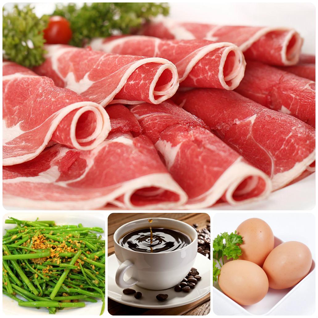 Thịt bò, trứng, rau muống, cà phê là một số thực phẩm bạn nên tránh sau khi tán bột lông mày