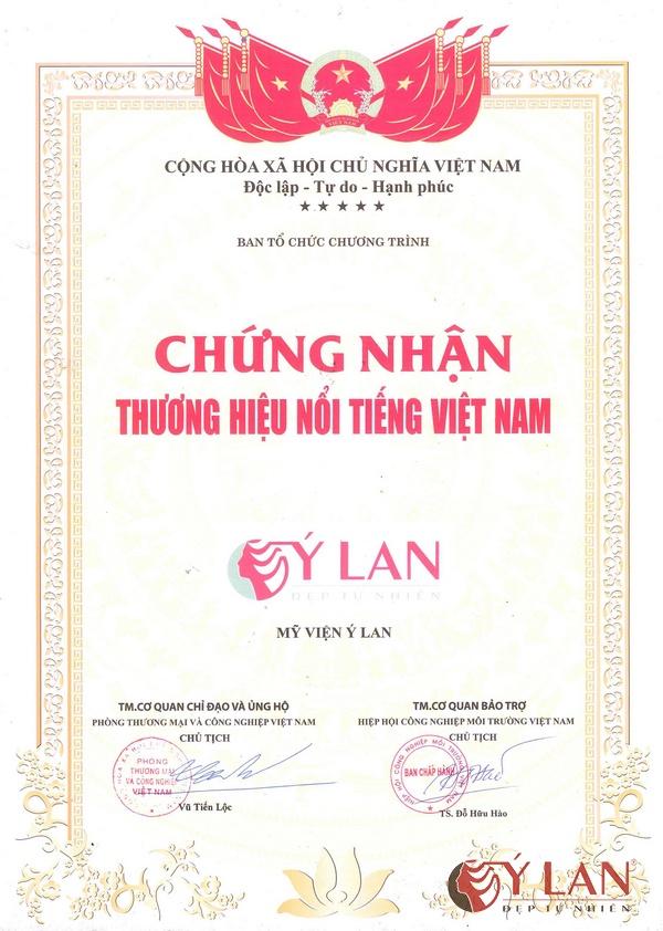 Chứng nhận thương hiệu nổi tiếng Việt Nam