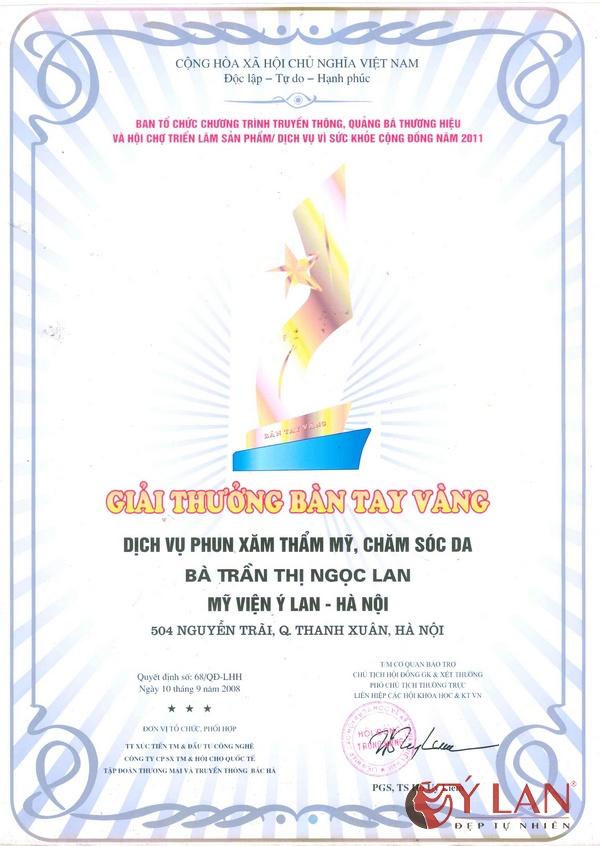 Giải thưởng Bàn tay vàng Dịch vụ phun xăm thẩm mỹ, chăm sóc da
