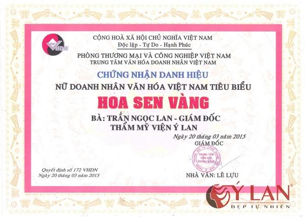 Chứng nhận danh hiệu Nữ doanh nhân văn hóa Việt Nam tiêu biểu Hoa sen vàng